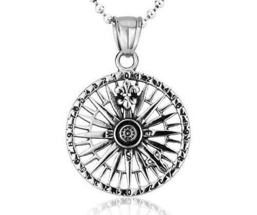 Warrior'S Compass Steel Necklace