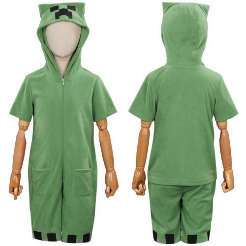 Minecra Children Kids Short Sleeve Cute Cartoon Jumpsuit Pajamas Cosplay Costume
