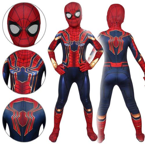 Kids Spider-Man Peter Parker Iron Spider Suit Spider-Man: Far From Home Jumpsuit Cosplay Costume -