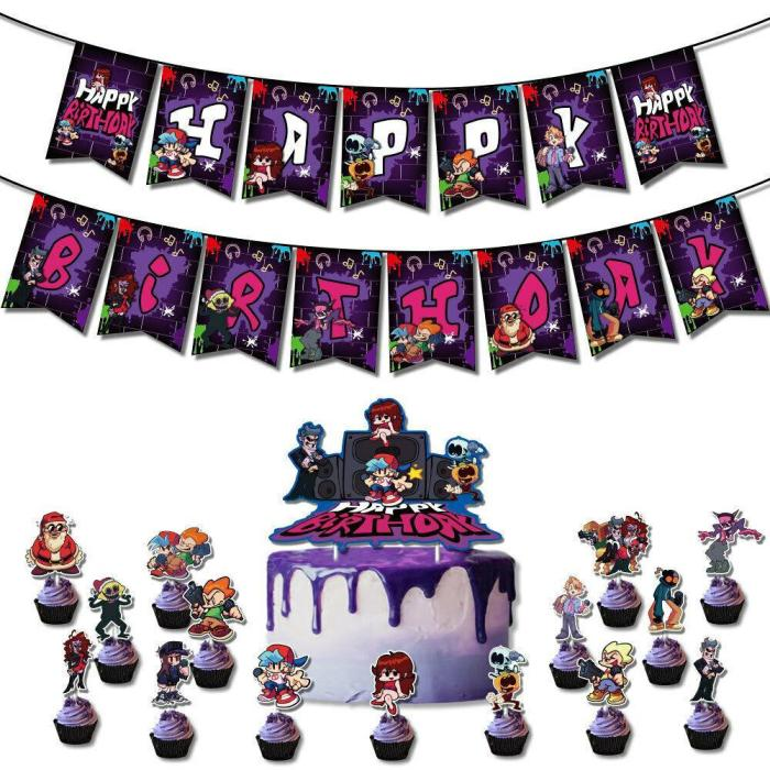 Friday Night Funkin Party Supplies Latex Balloons Banner Birthday Decorations
