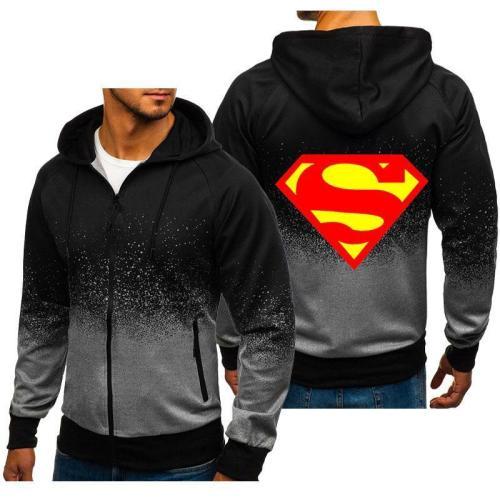 Men'S Gradient Color Zipper Hoodies