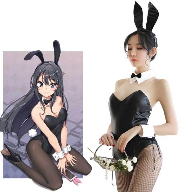 Seishun Buta Yarou wa Bunny Girl Senpai no Yume wo Minai Cosplay Halloween Costume for Girls Sexy Cute Bunny Faux Leather Rabbit