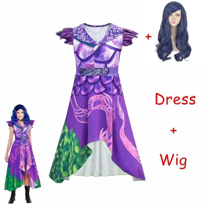 Sale Descendants 3 Evie Cosplay Dress Mal Costume Top Pants Full Set Adult Women Kids Halloween Carnival Costume For Girls