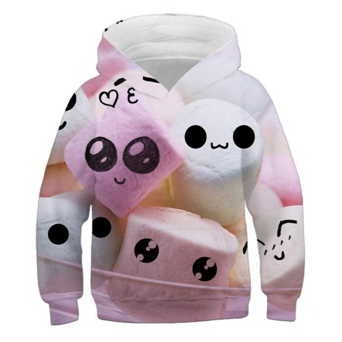 Delicious Food Donuts Cake 3D Children'S Hoodie Anime Printed 4-14T Long Sleeve Kids Clothes Boys Girls' Favorite Cool Hoodie