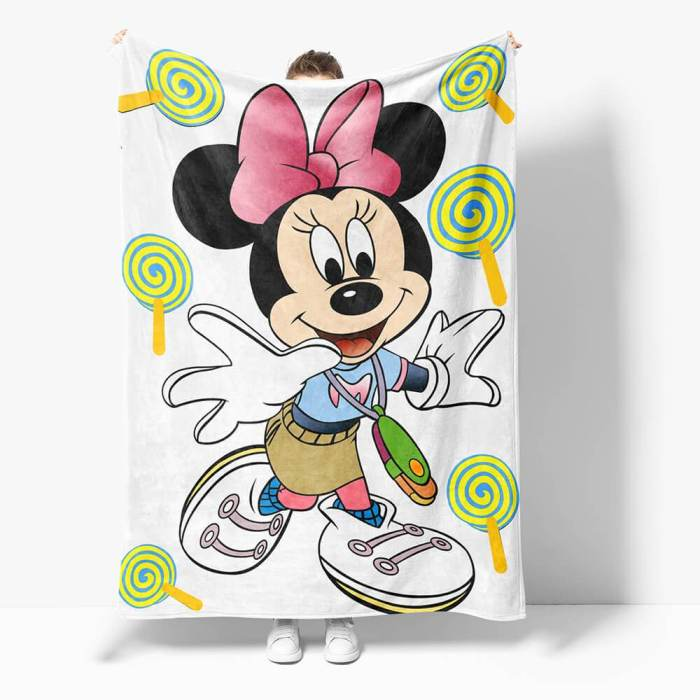 Mickey Mouse Minnie Mouse Flannel Fleece Throw Cosplay Blanket Set