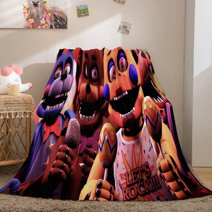 Game Five Nights At Freddy'S Flannel Caroset Throw Cosplay Blanket Comforter Set