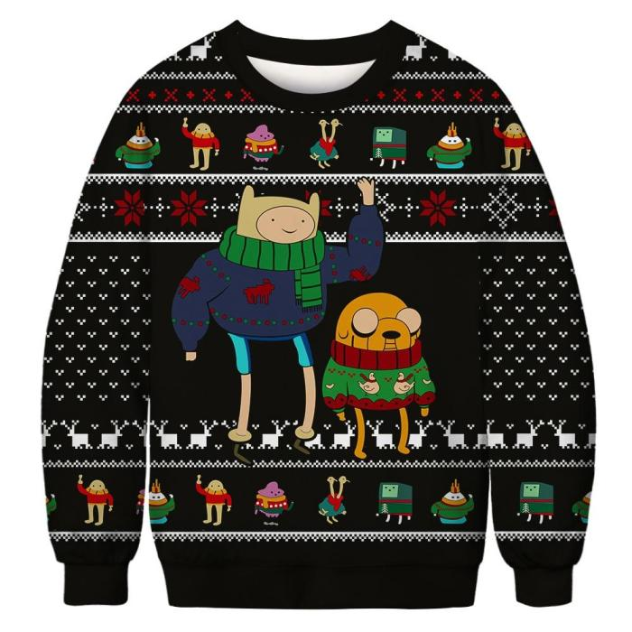 Unisex Cartoon 3D Print Ugly Christmas Sweater Round Neck Couple Outfit Pullover Sweater Men Women Winter Plus Size Clothing