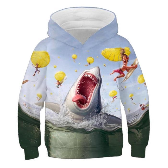 Kids Cartoon Shark Animal 3D Print Hoodies Children Girls Cool Clothes Boys Long Sleeve Autumn Winter Spring Sweatshirts Outfits