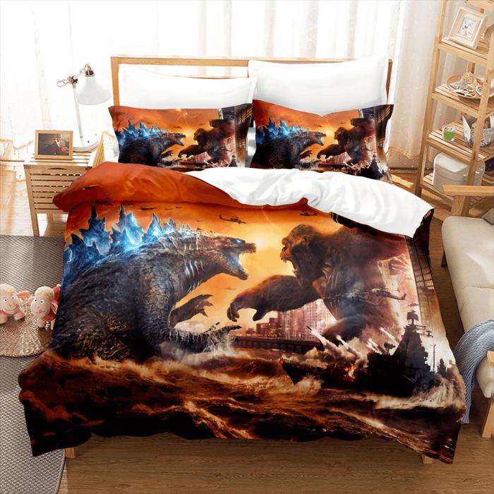 King Kong Vs Godzilla Comforter Bedding Set Duvet Covers Bed Sheets