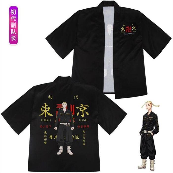 Anime Tokyo Revengers T-Shirt Sano Manjirou Ken Ryuguji Haori Polyester Summer Short-Sleeve Tees Tops Cosplay Costume