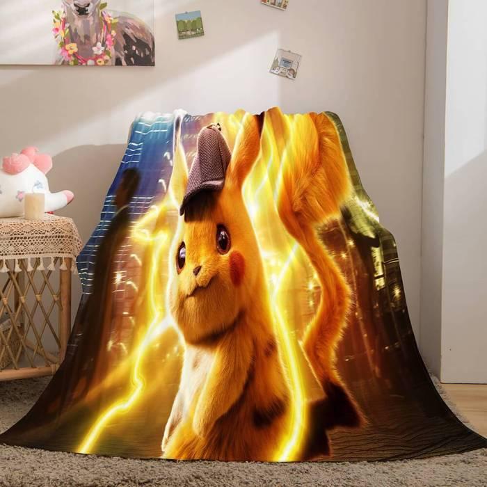 Pikachu Cosplay Caroset Blanket Flannel Throw Comforter Set