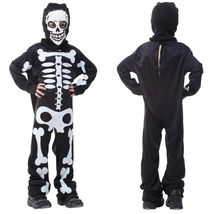 Halloween Skull Attached Mask Costume Boys Party Ghost Bobysuits Game Boys Cosplay Jumpsuit Christmas Gift