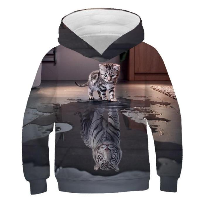 Children Cute Cat 3D Printed Hoodies Boys Girls Cool Sweatshirts Hoodie Kids Fashion Pullovers Clothes Tops 4T-14T Baby Sweaters