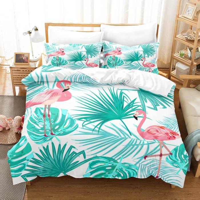 Cute Flamingo Bedding Set 3 Piece Duvet Covers Comforter Bed Sheets