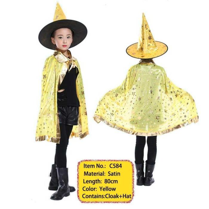 Halloween Costume Satin Cape With Hat For Kids Boys Wizard And Girls Witch Cosplay Halloween Party