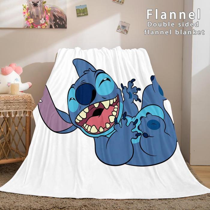 Lilo And Stitch Ohana Flannel Blanket Warm Cozy Throw Bed Blanket