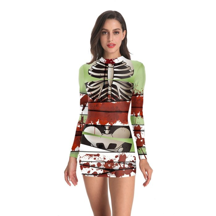 Ladies Halloween Party Horror Costumes Bloody Nurse Zombie Dress Cosplay Sexy Ladies Round Neck Long Sleeve Pack Hip Dress
