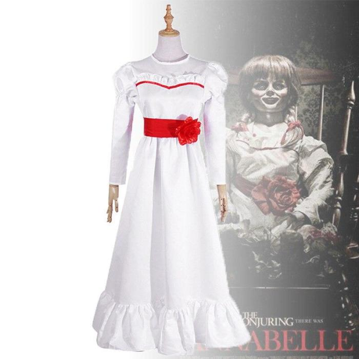 Movie Annabel Cosplay Costume Halloween White Dress For Women Kids Adult Halloween Costume And Wig Horror Conjurining