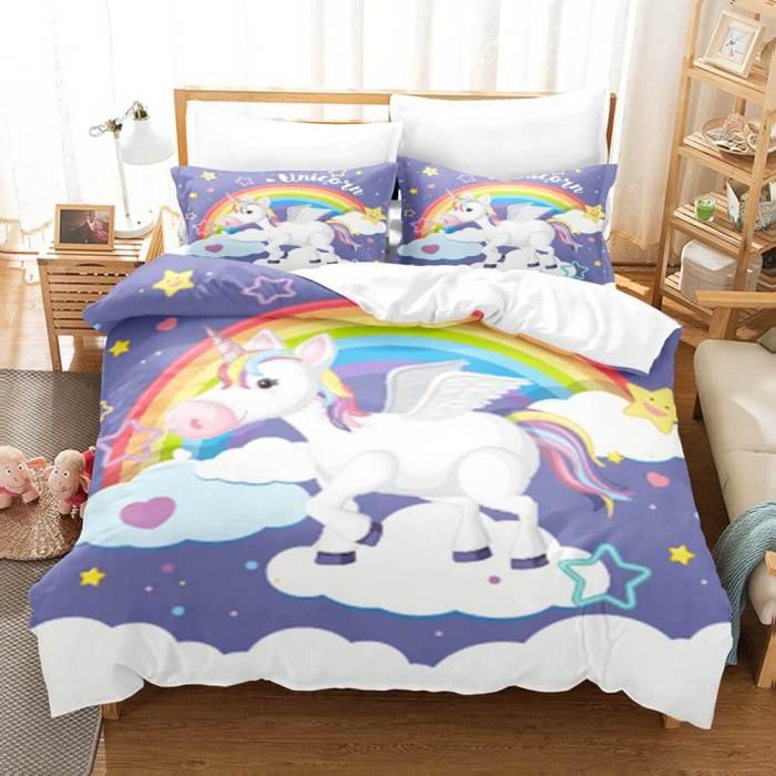 Cute Unicorn 3 Piece Bedding Set Duvet Covers Comforter Bed Sheets