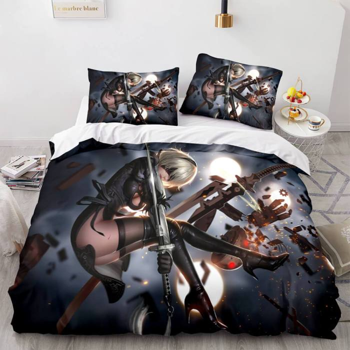 Game Nier Automata Cosplay 3 Piece Bedding Set Duvet Covers Bed Sheets
