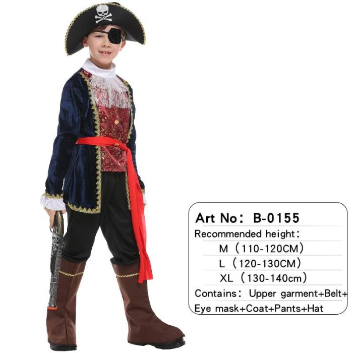 Halloween Adult Children Skull Pirate Captain Costume No Weapon For Baby Boy Girls Christmas Birthday Party Cosplay Fancy Dress