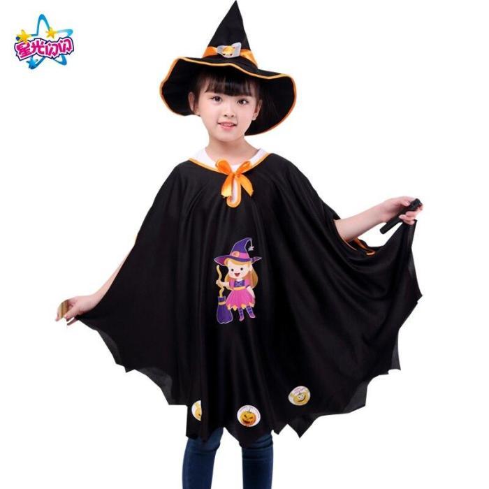 Halloween Pumpkin Cloak Children'S Cape With Hat Girl Performance Costume Sorcerer Witch Cloak Set Ghost  Dress Up