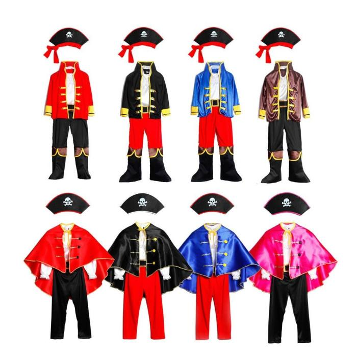 Pirates Costume Children'S Day Kids Boys Pirate Halloween Cosplay Set Birthday Party Cloak Outfit Pirate Christmas Theme