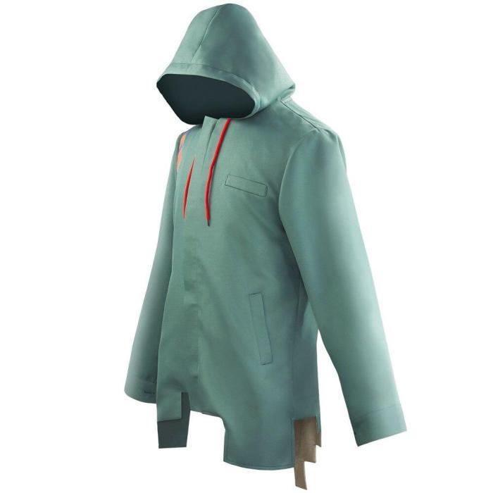 Anime Danganronpa Nagito Komaeda Cosplay Costumes Hooded Coat Army Green Color Hooded Jacket Coat