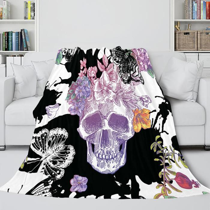 Halloween Skeleton Skull Flannel Blanket Throw Blanket Comforter Sets