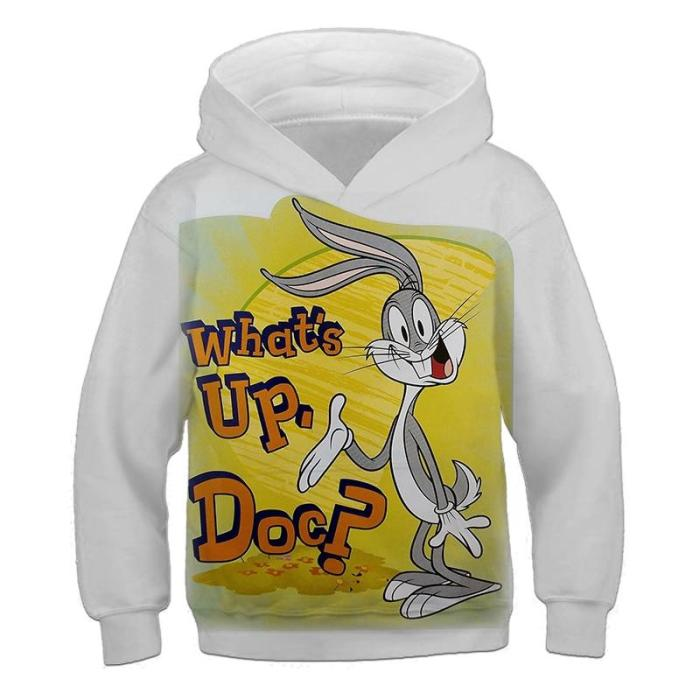 Kids Bunny 3D Hoodies&Sweatshirts Funny Long Sleeve Hoodie Children'S Clothing Boys/Girl Sweater Cool Tops 4-14T