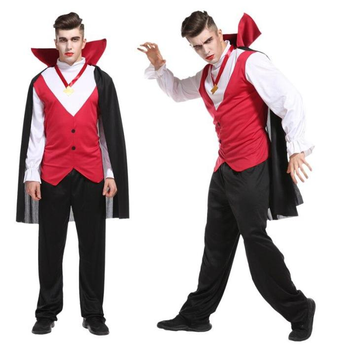 Halloween Costume Adult Male Vampire Cosplay Clothing Party Children'S Performance Clothing For Christmas Gift No Weapon