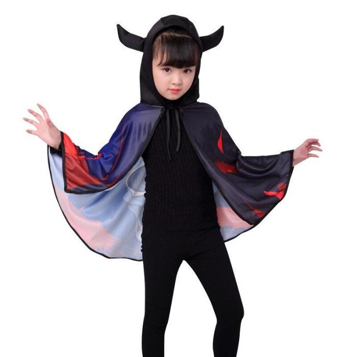 Halloween Children'S Horns Cloak  Kids Adult Performance Costume Sorcerer Hooded Witch Set Ghost Pumpkin Cloak Dress