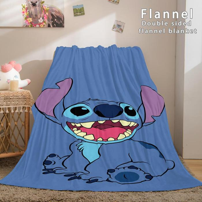 Stitch Flannel Blanket Warm Cozy Bed Blankets Soft Throw Blanket