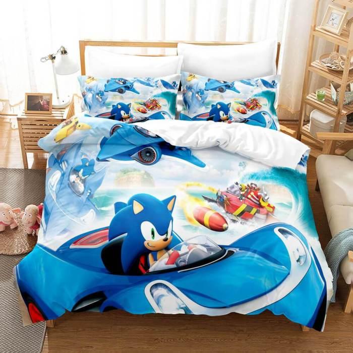 Sonic Cosplay Full Bedding Set Duvet Cover Comforter Bed Sheets