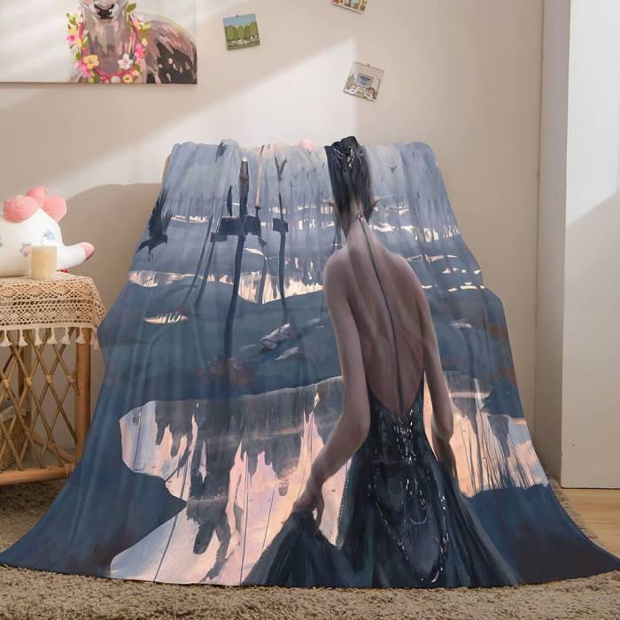 Game Ghost Blade Cosplay Flannel Fleece Blanket Comforter Bedding Sets