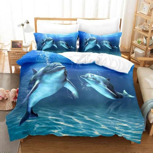 Ocean Dolphin Bedding Set Duvet Cover Comforter Bed Sheets
