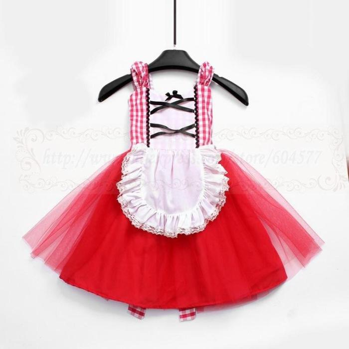 Little Red Riding Hood Dress Costume For Toddlers And Girls Cosplay Dress Princess Halloween Costume Clothing