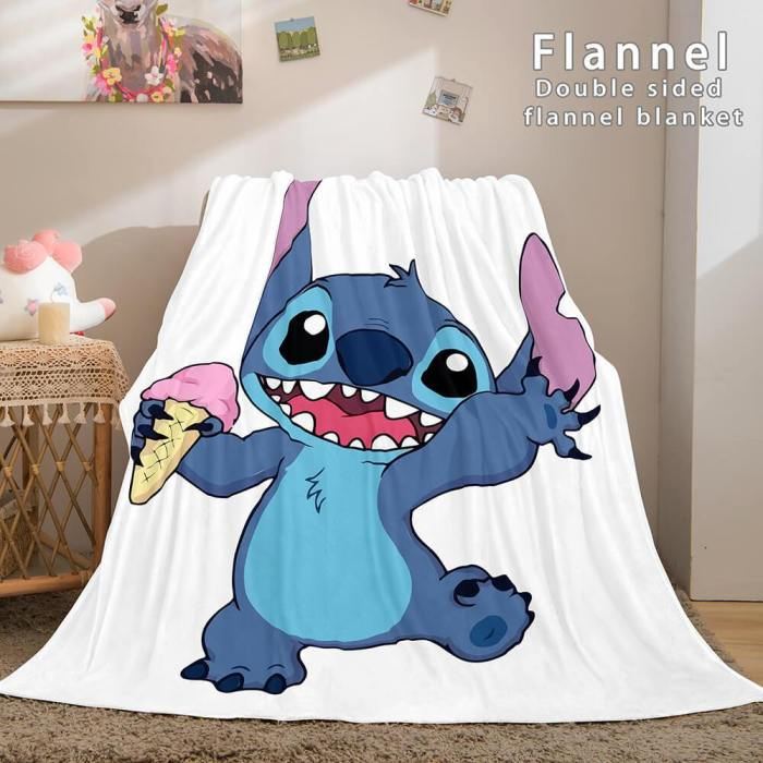 Lilo And Stitch Flannel Blanket Warm Cozy Plush Throw Bed Blankets