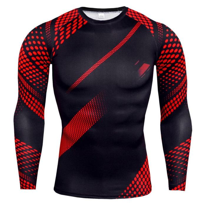 Mens Compression Shirts 3D Teen  Long Sleeve T Shirt Fitness Men Lycra Mma Workout T-Shirts Tights  Clothing