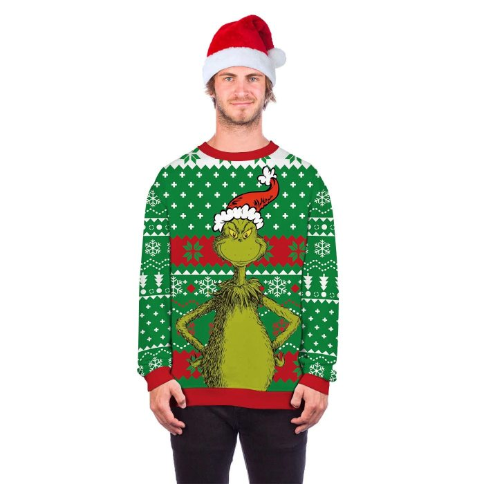 Unisex 3D Print Funny Ugly Christmas Sweater Round Neck Xmas Pullover Hoodie Sweater Men Women Autumn Winter Plus Size Clothing