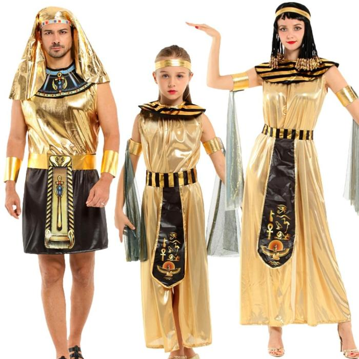 Halloween Egyptian Parent-Child Costume Cleopatra Egypt Queen Cosplay Carnival Party Sexy Golden Fancy Dress