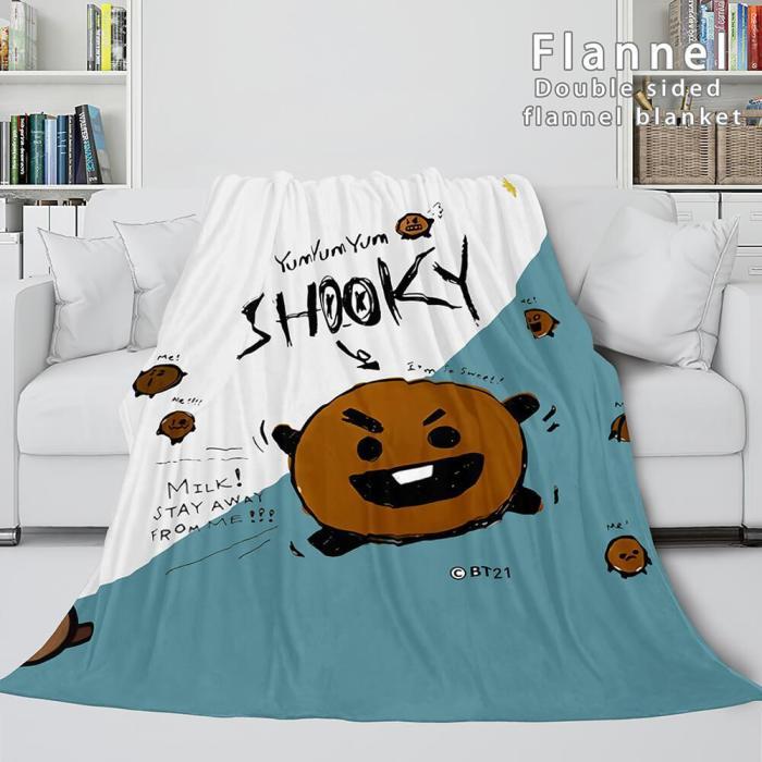 Bt21 Cosplay Flannel Blanket Throw Comforter Soft Bedding Sets