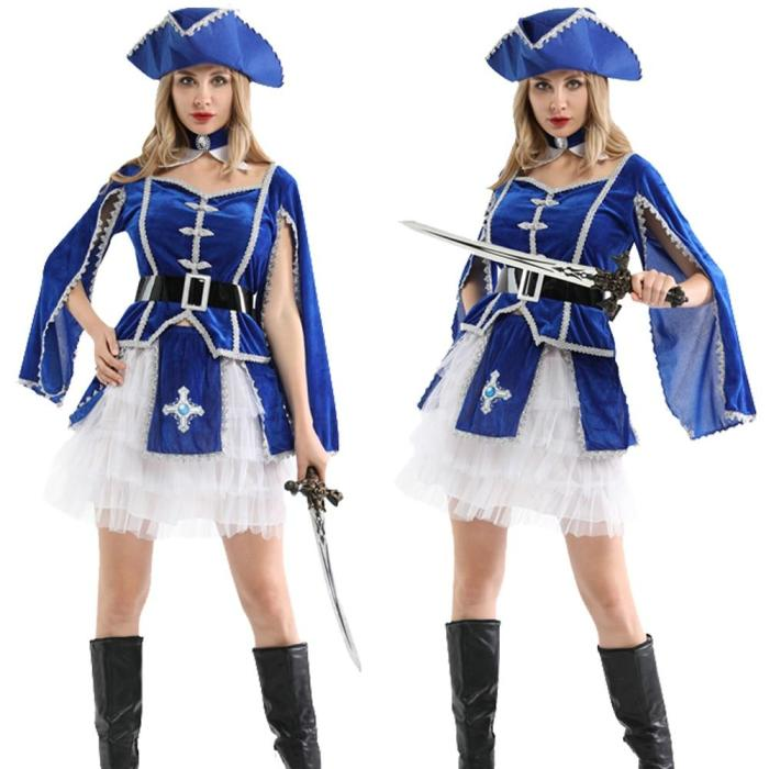 Halloween Bluey Costume Captain Pirates Caribbean Jack Sparrow Pirate Fantasia Adult Cosplay Fancy Dress Carnival Cosplay Women