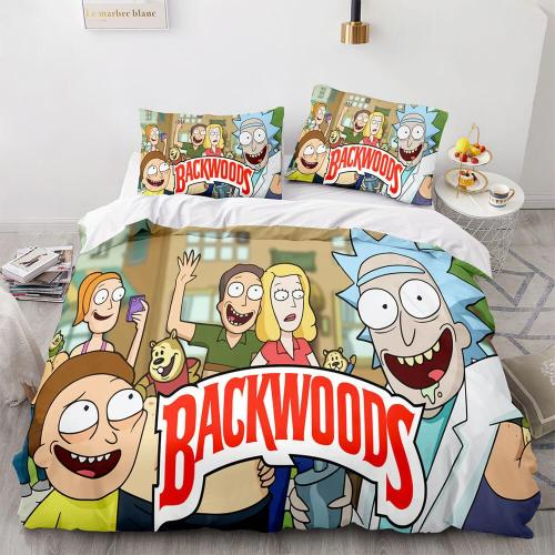 Backwoods Rick And Morty Cosplay 3 Piece Bedding Duvet Cover Sets