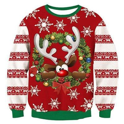 Ugly Christmas Sweaters Jumpers Tops Men Women Holiday Party  Crewneck Long Sleeve Funny Dog Print 3D Hoodie Sweatshirt
