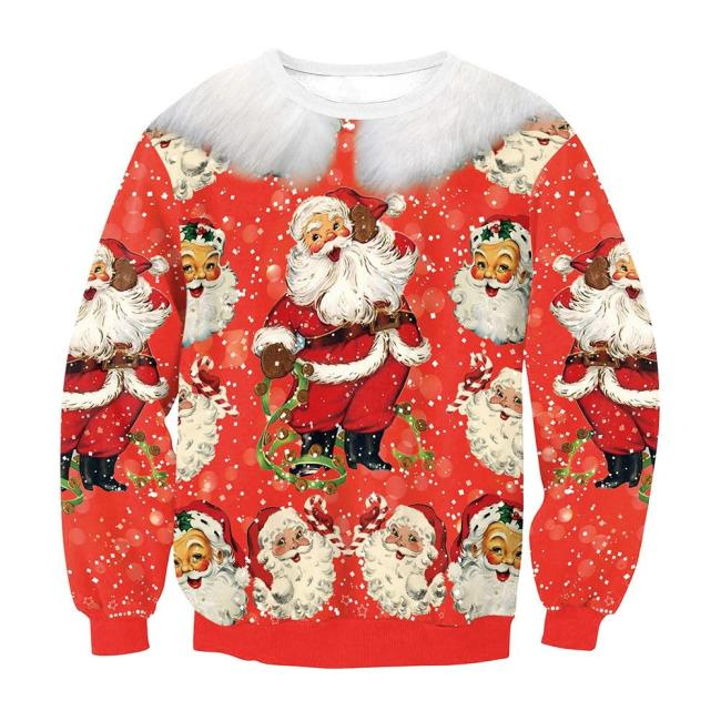 Ugly Christmas Sweater Cute Santa Claus 3D Printing Casual Long Sleeve O-Neck Couple Pullover