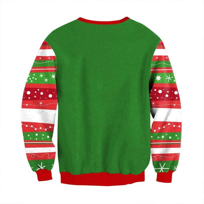 Fashion Women Ugly Christmas Sweater Xmas Socks Letter Printing Long Sleeve Round Neck Pullover Tops