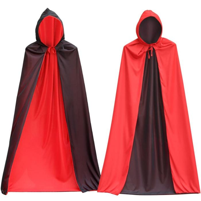 Halloween Hooded Vampire Cloak Cape Adult Children Stand-Up Collar Cap Red Black Cape Costume Themed Party Cosplay