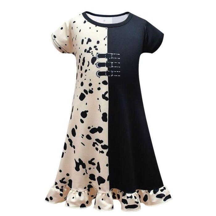 Cruella De Vil Children Clothes Short-Sleeved Ruffle Dress Halloween Cosplay Costume Party Dress For Girls