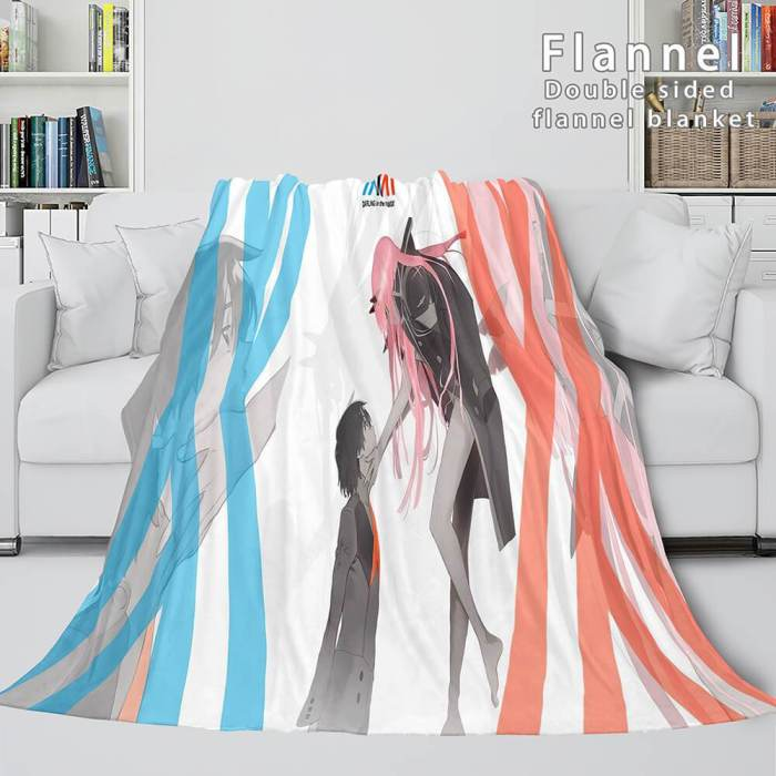 Darling In The Franxx Cosplay Flannel Blanket Throw Comforter Sets